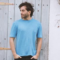 100% Hanf Öko T-Shirt Blau 'Verano'