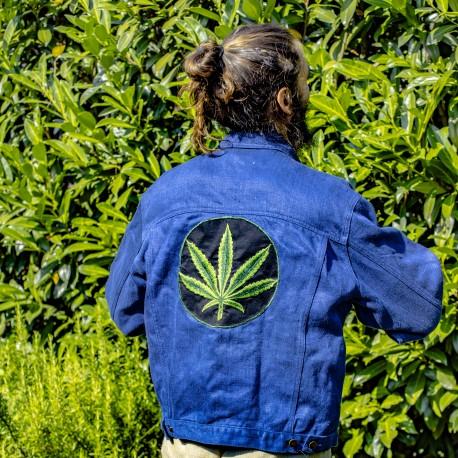 Unique: denim jacket with hemp logo on the back M
