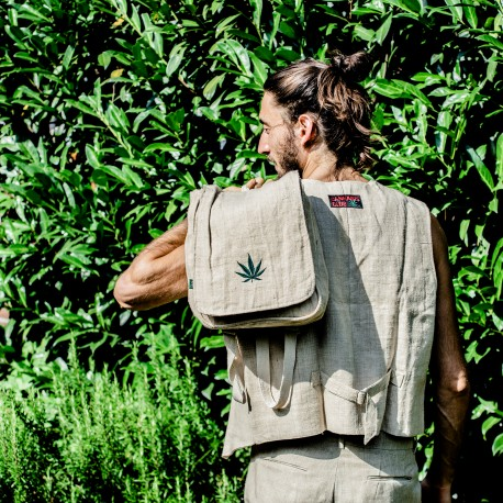 100% hemp backpack/bag with hemp symbol