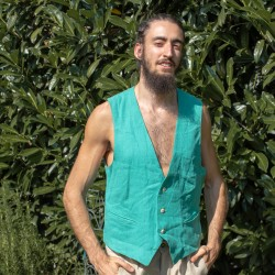 Vest in teal 100% hemp M