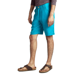 100% Hanf: Kurze Hose Türkis mit aufgesetzten Taschen