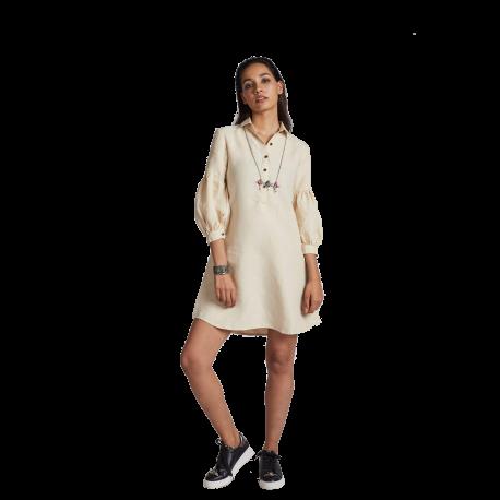 100% hemp Horizon Lego-mutton Shirt Dress - Beige